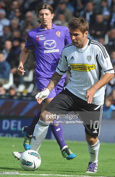 Adrian Mutu of AC Cesena in action during the Serie A match between AC Cesena and ACF Fiorentina at Dino Manuzzi Stadium on October 16 2011 in Cesena...