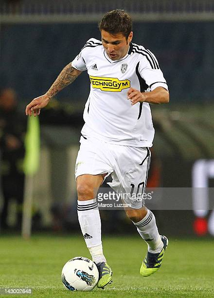 Adrian Mutu of AC Cesena in action during the Serie A match between Genoa CFC and AC Cesena at Stadio Luigi Ferraris on April 11 2012 in Genoa Italy