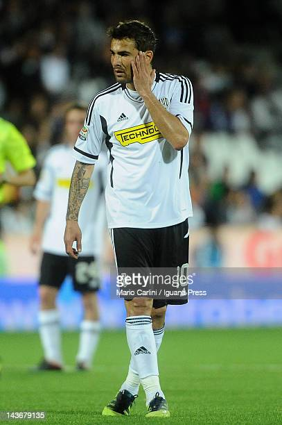 Adrian Mutu of AC Cesena reacts during the Serie A match between AC Cesena and Udinese Calcio at Dino Manuzzi Stadium on May 2 2012 in Cesena Italy