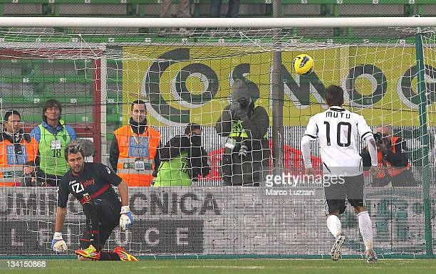Adrian Mutu of AC Cesena scores his goal from the penalty spot during the Serie A match between AC Cesena and Genoa CFC at Dino Manuzzi Stadium on...