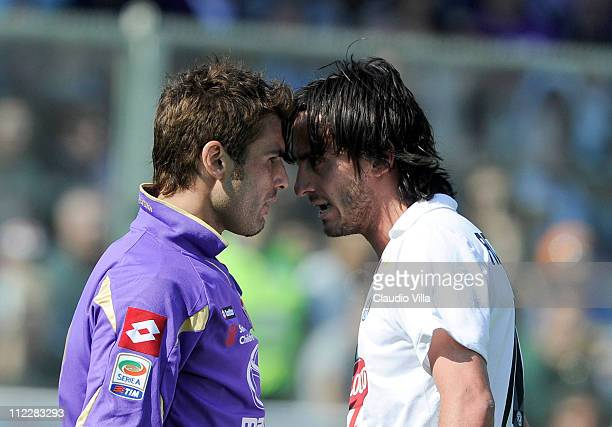 Adrian Mutu of ACF Fiorentina and Alberto Aquilani of Juventus FC confront each other during the Serie A match between ACF Fiorentina and Juventus FC...