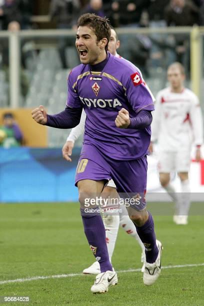 Adrian Mutu of ACF Fiorentina celebrates after scoring a goal during the Serie A match between Fiorentina and Bari at Stadio Artemio Franchi on...