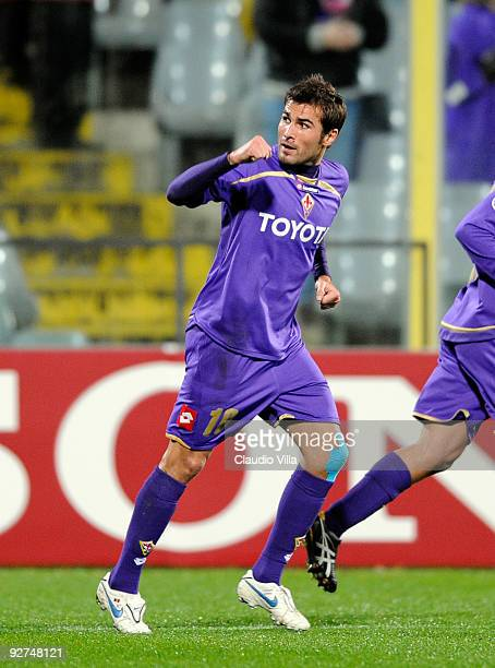 Adrian Mutu of ACF Fiorentina celebrates scoring his team's first goal during the UEFA Champions League Group E match between ACF Fiorentina and VSC...