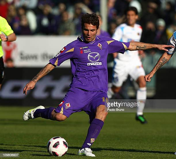Adrian Mutu of ACF Fiorentina in action during the Serie A match between ACF Fiorentina and Catania Calcio at Stadio Artemio Franchi on March 6 2011...