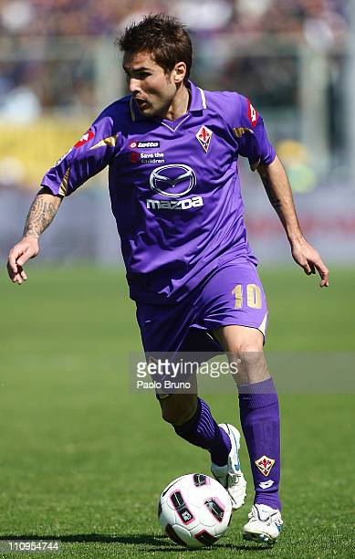 Adrian Mutu of ACF Fiorentina in action during the Serie A match between ACF Fiorentina and AS Roma at Stadio Artemio Franchi on March 20 2011 in...