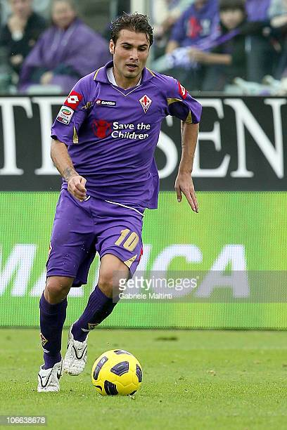 Adrian Mutu of ACF Fiorentina in action during the Serie A match between Fiorentina and Chievo at Stadio Artemio Franchi on November 7 2010 in...