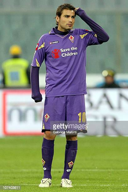 Adrian Mutu of ACF Fiorentina in action during the Serie A match between Fiorentina and Cagliari at Stadio Artemio Franchi on December 5 2010 in...
