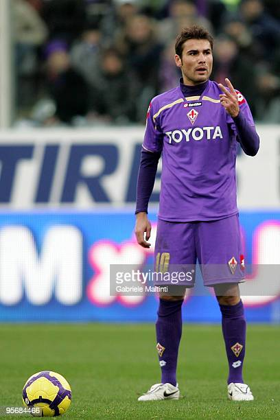 Adrian Mutu of ACF Fiorentina in action during the Serie A match between Fiorentina and Bari at Stadio Artemio Franchi on January 10 2010 in Florence...