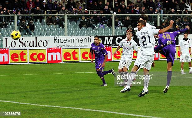 Adrian Mutu of ACF Fiorentina scores the opening goal during the Serie A match between Fiorentina and Cagliari at Stadio Artemio Franchi on December...