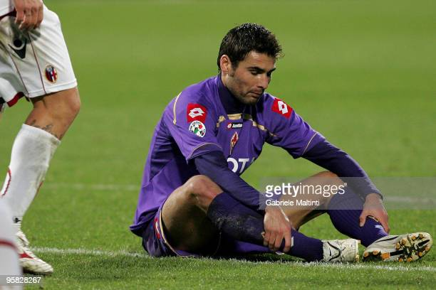 Adrian Mutu of ACF Fiorentina shows his dejection during the Serie A match between Fiorentina and Bologna at Stadio Artemio Franchi on January 17...