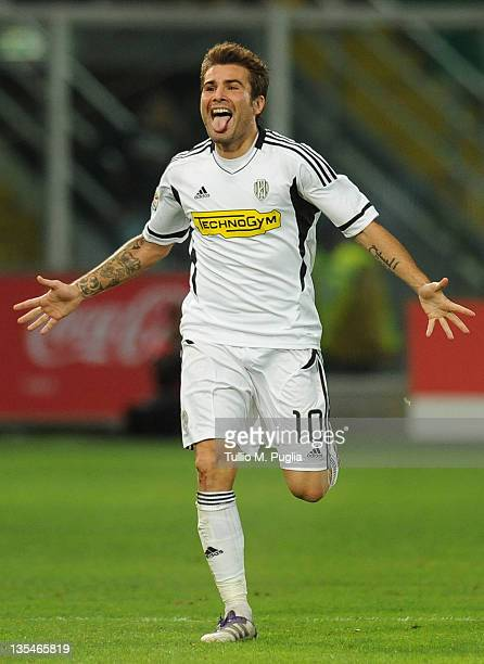 Adrian Mutu of Cesena celebrates after scoring the opening goal during the Serie A match between US Citta di Palermo and AC Cesena at Stadio Renzo...