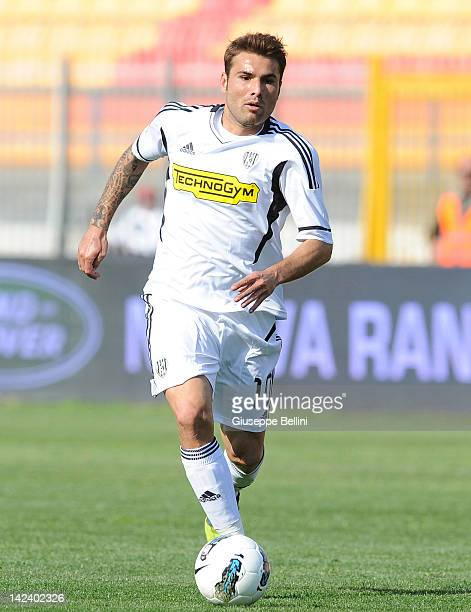 Adrian Mutu of Cesena in action during the Serie A match between US Lecce and AC Cesena at Stadio Via del Mare on April 1 2012 in Lecce Italy