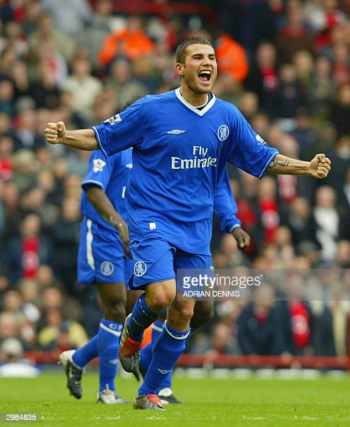 Adrian Mutu of Chelsea celebrates scoring the opening goal against Arsenal during the FA Cup fifth round match at Highbury in London 15 February 2004...
