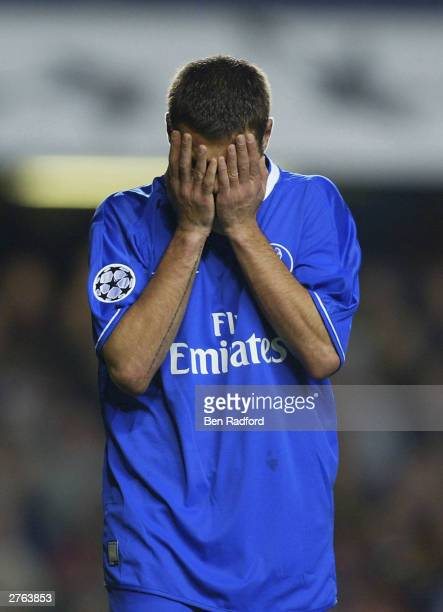 Adrian Mutu of Chelsea is frustrated after missing a chance against Sparta Prague during the UEFA Champions League Group G match between Chelsea and...