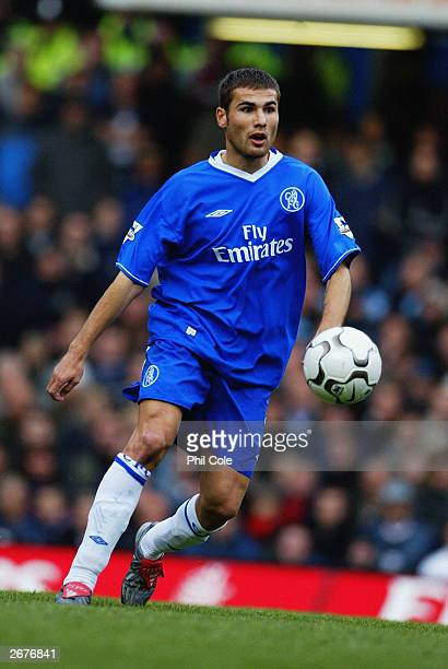Adrian Mutu of Chelsea looks to pass the ball during the FA Barclaycard Premiership match between Chelsea and Manchester City at Stamford Bridge on...