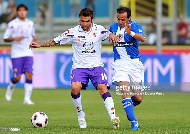 Adrian Mutu of Fiorentina and Antonio Filippini of Brescia compete for the ball during the Serie A match between Brescia Calcio and ACF Fiorentina at...