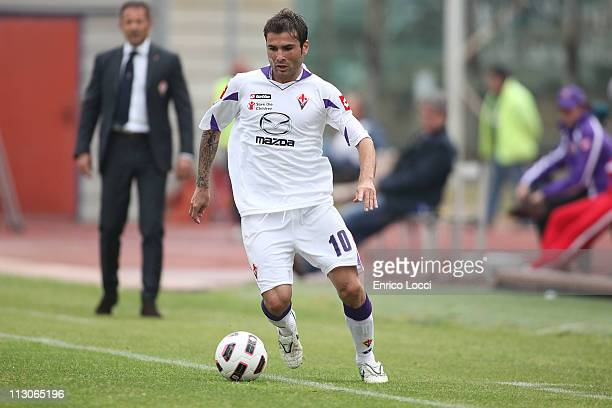 Adrian Mutu of Fiorentina during the Serie A match between Cagliari Calcio and ACF Fiorentina at Stadio Sant'Elia on April 23 2011 in Cagliari Italy