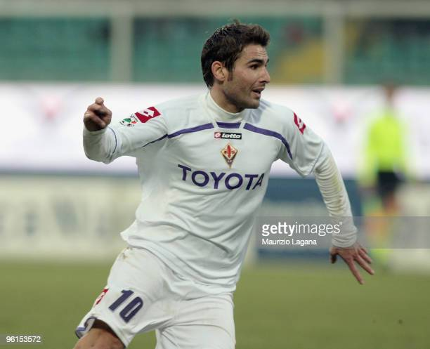 Adrian Mutu of Fiorentina is shown in action during the Serie A match between Palermo and Fiorentina at Stadio Renzo Barbera on January 24 2010 in...
