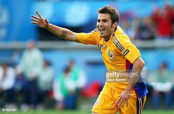 Adrian Mutu of Romania celebrates after scoring the opening goal during the UEFA EURO 2008 Group C match between Italy and Romania at Letzigrund...
