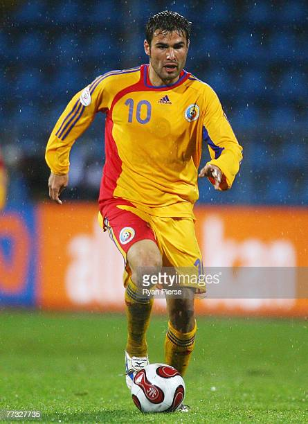Adrian Mutu of Romania in action during the Euro 2008 Group G qualifying match between Romania and The Netherlands at Farul Stadium on October 13...