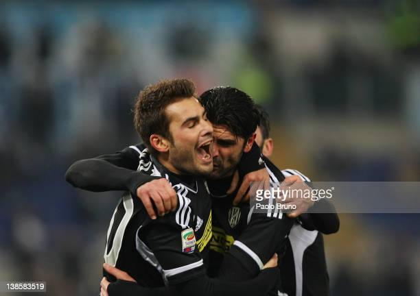 Adrian Mutu with his teammate Vincenzo Iaquinta of AC Cesena celebrate after scoring the opening goal during the Serie A match between SS Lazio and...