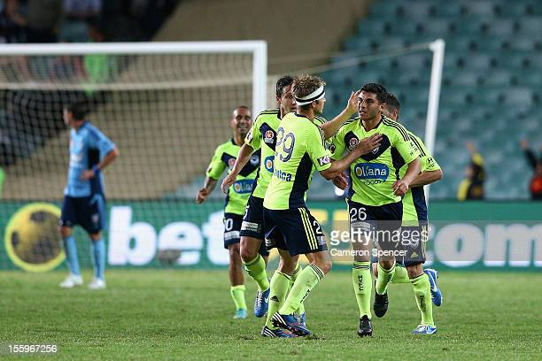 Adrian Nabbout of Victory is congratulated by team mates after scoring a goal during the round six ALeague match between Sydney FC and the Melbourne...