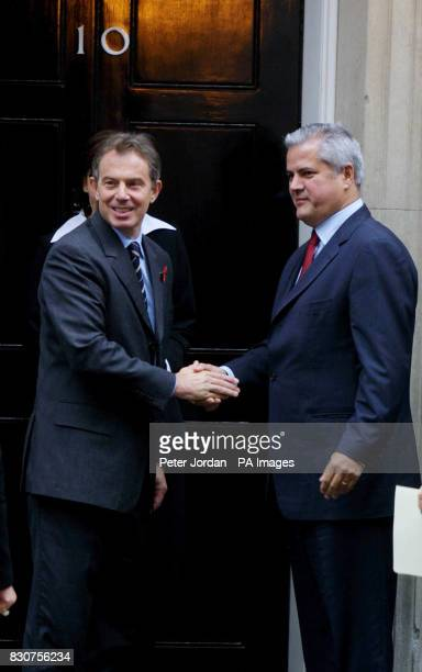 Adrian Nastase Prime Minister of Romania is welcomed to 10 Downing Street by Prime Minister Tony Blair