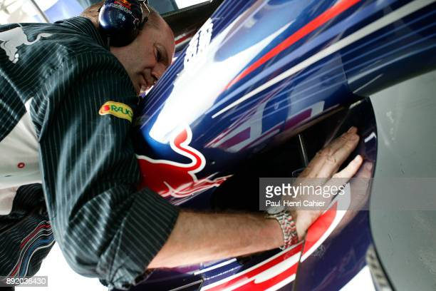 Adrian Newey Grand Prix of Bahrain Bahrain International Circuit 15 April 2007 Adrian Newey examining the Red Bull RB3 which he designed