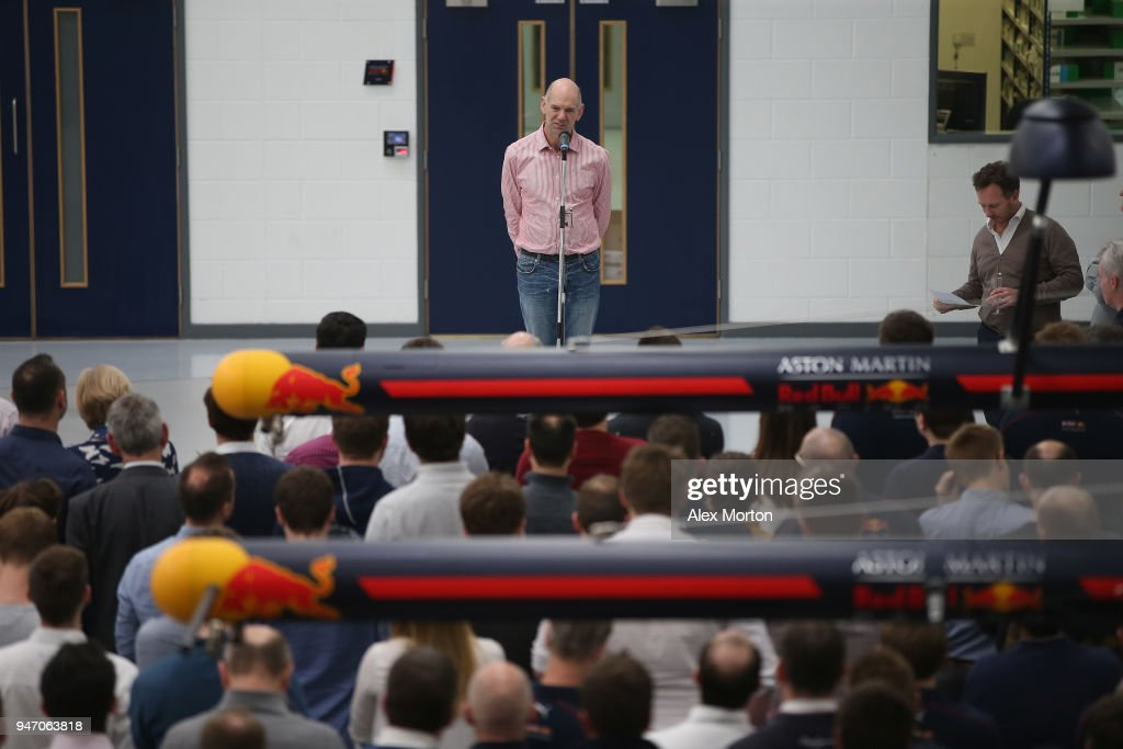 Adrian Newey of Red Bull Racing addresses the team at the Red Bull Racing factory on April 16, 2018 in Milton Keynes, England.