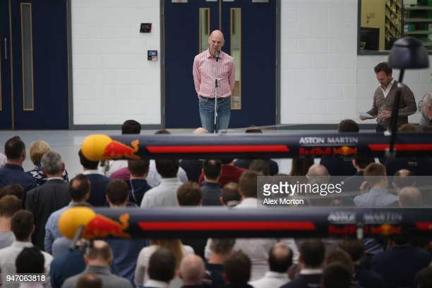 Adrian Newey of Red Bull Racing addresses the team at the Red Bull Racing factory on April 16 2018 in Milton Keynes England