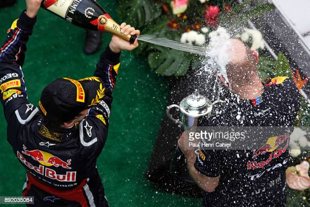 Adrian Newey Sebastian Vettel Grand Prix of Malaysia Sepang International Circuit 10 April 2011 Adrian Newey having a champagne shower from race...