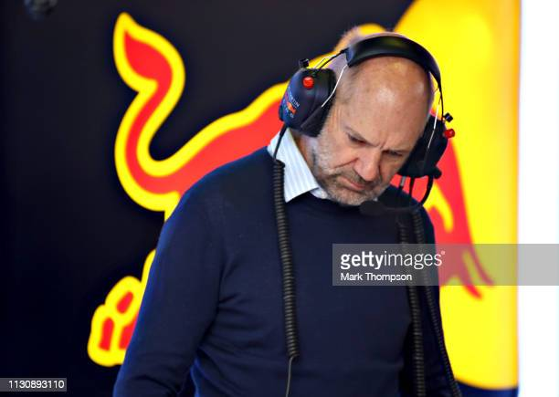 Adrian Newey the Chief Technical Officer of Red Bull Racing looks on in the garage during day three of F1 Winter Testing at Circuit de Catalunya on...
