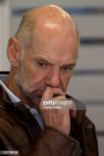 Adrian Newey the Chief Technical Officer of Red Bull Racing looks on in the garage during day three of F1 Winter Testing at Circuit de...