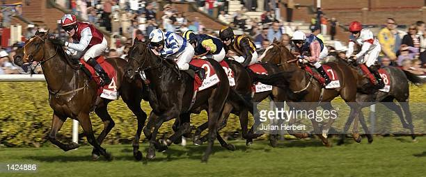 Adrian Nicholls and Funfair Wane lead the field home to land The Tote Ayr Gold Cup run at Ayr Racecourse in Ayr on September 21 2002