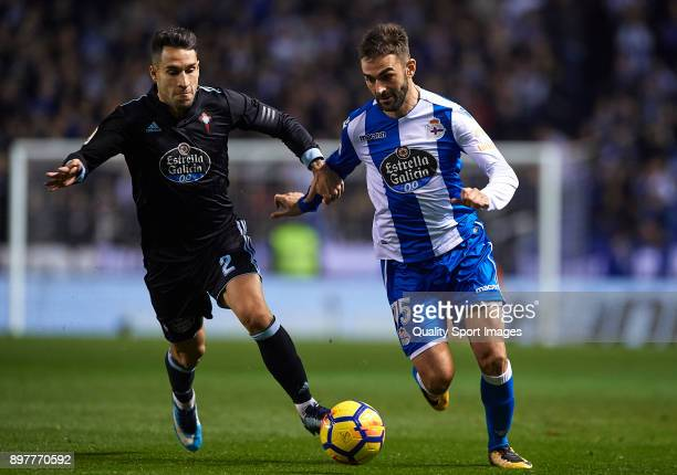 Adrian of Deportivo de La Coruna competes for the ball with Hugo Mallo of Celta de Vigo during the La Liga match between Deportivo de La Coruna and...