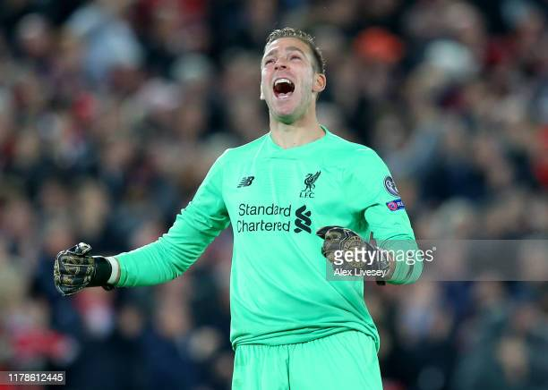 Adrian of Liverpool celebrates after his side score their second goal during the UEFA Champions League group E match between Liverpool FC and RB...