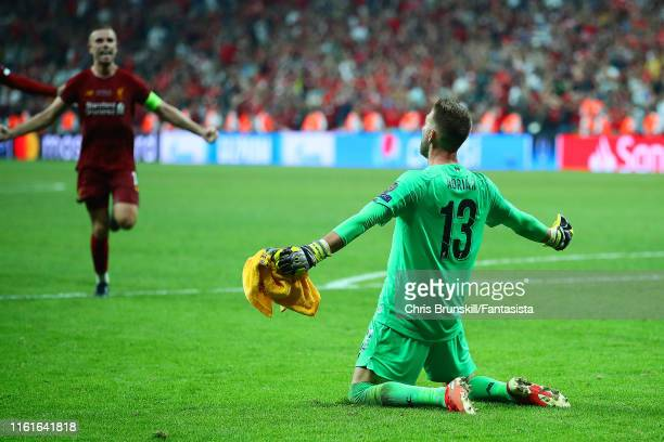 Adrian of Liverpool celebrates after his team's victory in a penalty shootout at the end of the UEFA Super Cup match between Liverpool and Chelsea at...