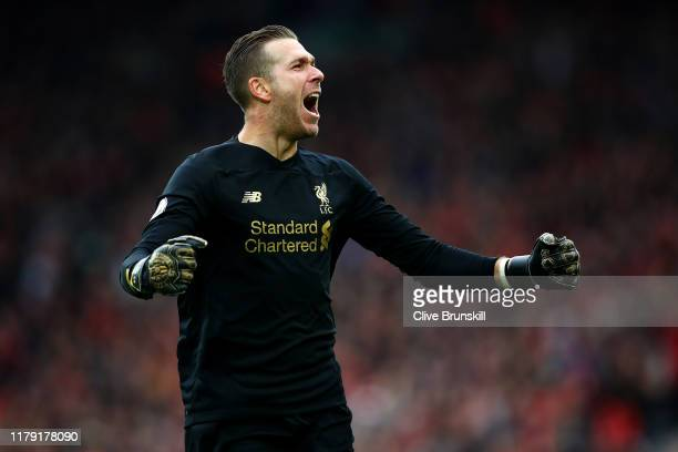 Adrian of Liverpool celebrates his sides first goal during the Premier League match between Liverpool FC and Leicester City at Anfield on October 05,...