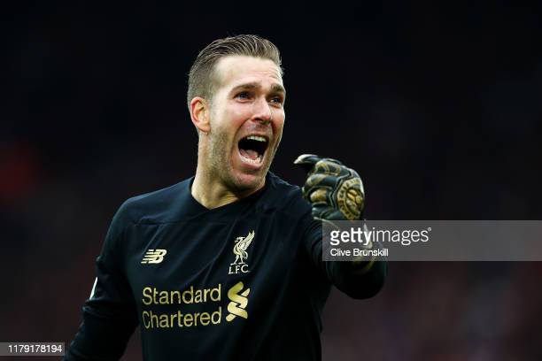 Adrian of Liverpool celebrates his sides first goal during the Premier League match between Liverpool FC and Leicester City at Anfield on October 05...