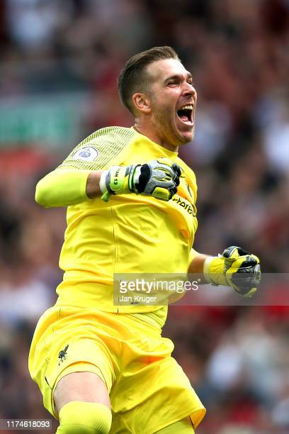 Adrian of Liverpool celebrates his sides third goal during the Premier League match between Liverpool FC and Newcastle United at Anfield on September...