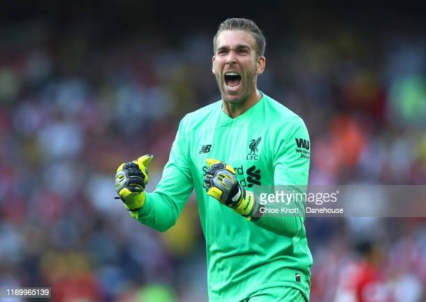 Adrian of Liverpool celebrates his teams third goal during the Premier League match between Liverpool FC and Arsenal FC at Anfield on August 24, 2019...