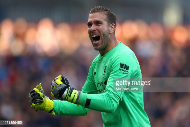 Adrian of Liverpool celebrates his teams third goal during the Premier League match between Burnley FC and Liverpool FC at Turf Moor on August 31,...