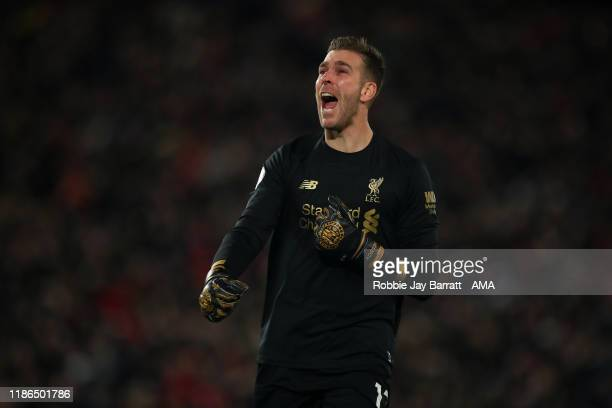 Adrian of Liverpool celebrates the goal scored by Divock Origi of Liverpool during the Premier League match between Liverpool FC and Everton FC at...