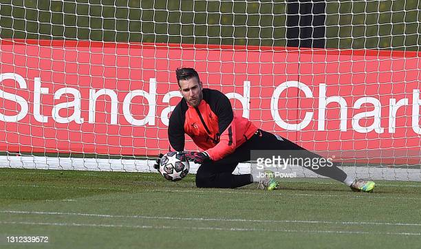 Adrian of Liverpool during a training session at AXA Training Centre on April 13, 2021 in Kirkby, England.