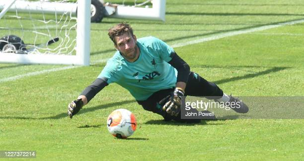 Adrian of Liverpool during a training session at Melwood Training Ground on May 27, 2020 in Liverpool, England.