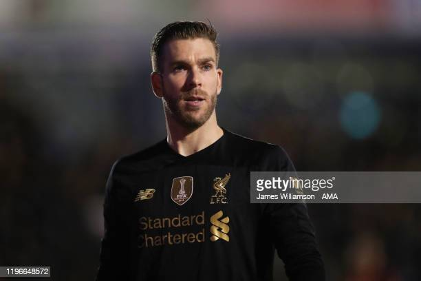 Adrian of Liverpool during the FA Cup Fourth Round match between Shrewsbury Town and Liverpool at New Meadow on January 26 2020 in Shrewsbury England