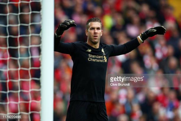 Adrian of Liverpool in action during the Premier League match between Liverpool FC and Leicester City at Anfield on October 05 2019 in Liverpool...