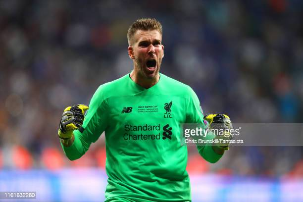 Adrian of Liverpool reacts after Sadio Mane scored a goal in extra time to make it 2-1 during the UEFA Super Cup match between Liverpool and Chelsea...