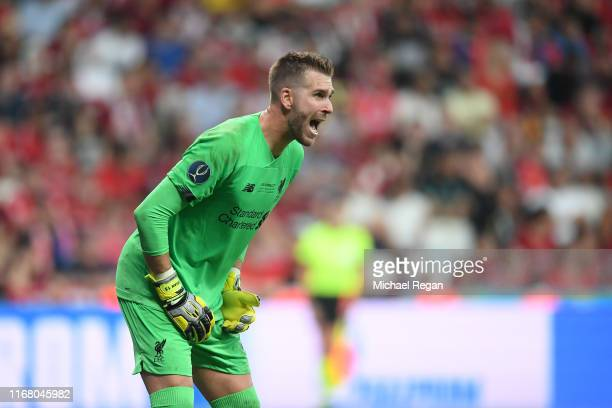 Adrian of Liverpool reacts during the UEFA Super Cup match between Liverpool and Chelsea at Vodafone Park on August 14 2019 in Istanbul Turkey