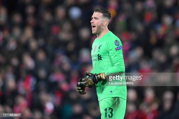 Adrian of Liverpool reacts to conceding Atletico Madrid's first goal during the UEFA Champions League round of 16 second leg match between Liverpool...